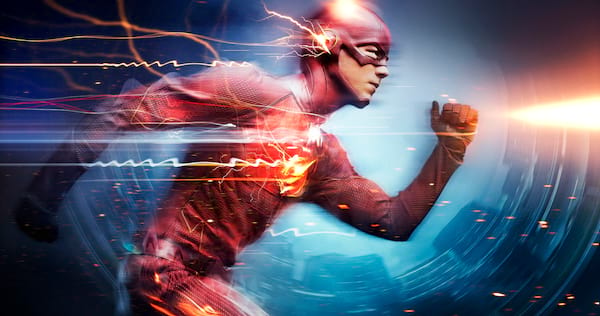 The Flash running while lightning sparks around him., pop culture, movies/tv
