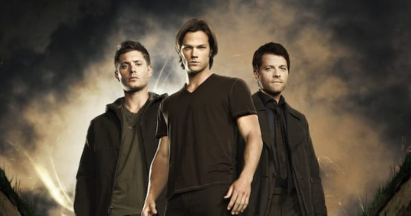 dean, sam, and Castiel all wearing dark clothes and looking forward., movies/tv, pop culture