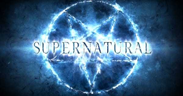 The word 'Supernatural' glowing blue above a pentagram., pop culture, movies/tv