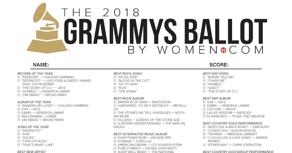 image relating to Printable Ballot called Absolutely free Grammys 2018 Printable Ballot Checklist -