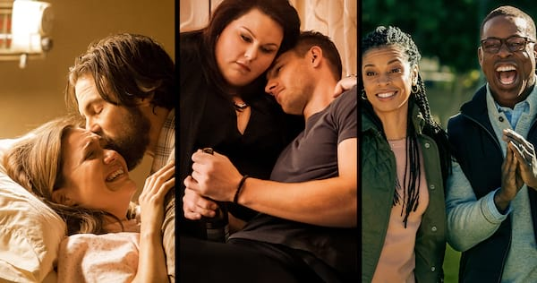 Jack kissing Rebecca on the head, Kate hugging Kevin, and Randall and Beth looking excited from TV show This is Us, movies/tv, pop culture