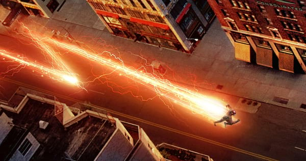 The Flash running quickly through Central City., movies/tv, pop culture