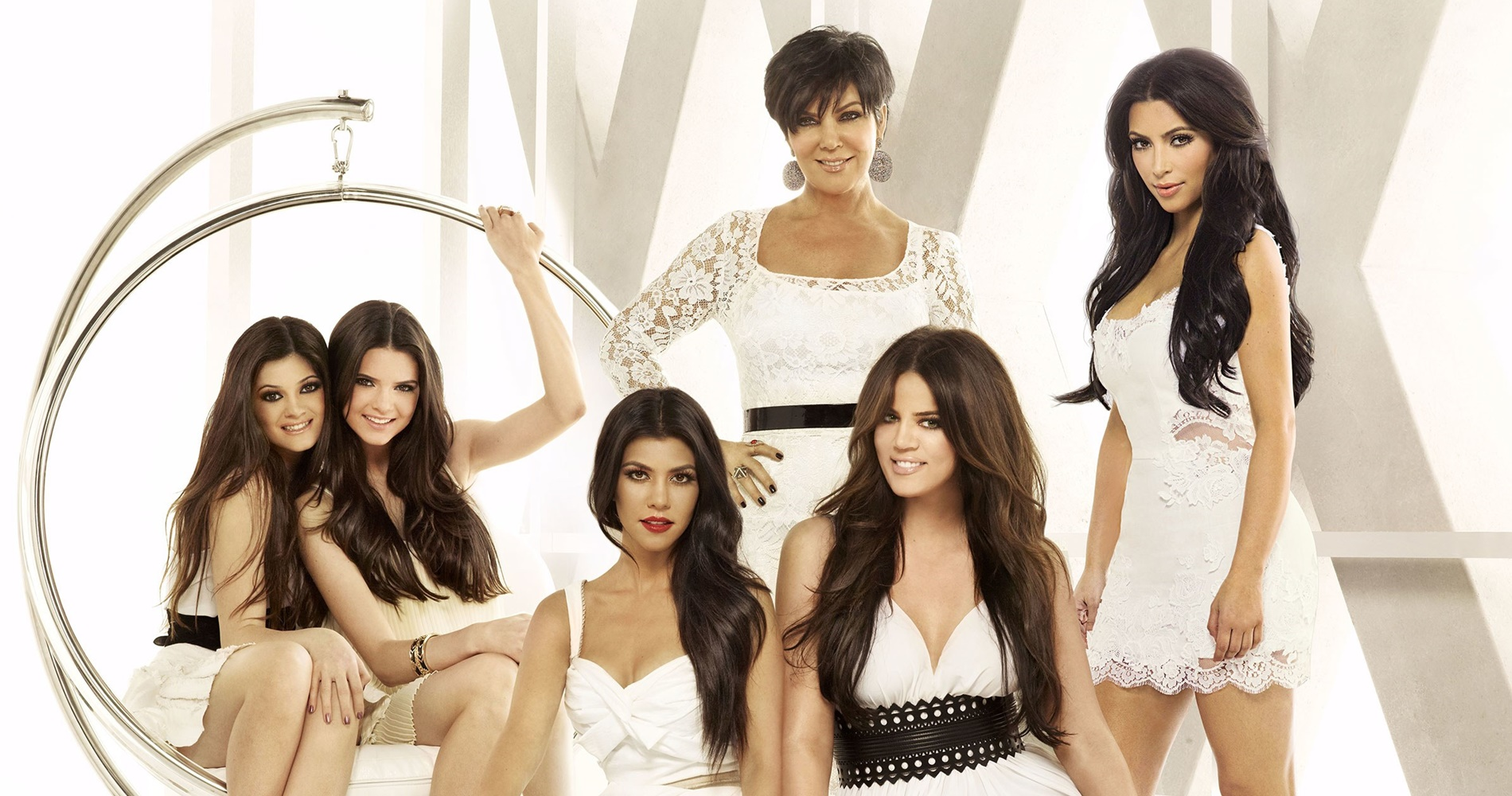 The Kardashians all dressed in white., pop culture, movies/tv