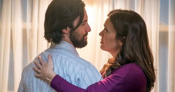 Jack and Rebecca from This Is Us standing close to each other., wdc-slideshow, pop culture, movies/tv