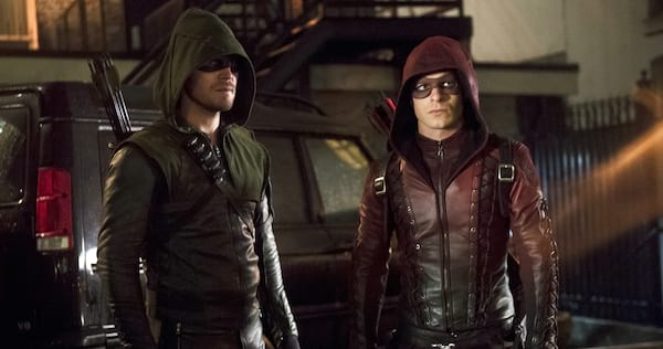 Oliver and Roy in costume from Arrow., wdc-slideshow, movies/tv, pop culture