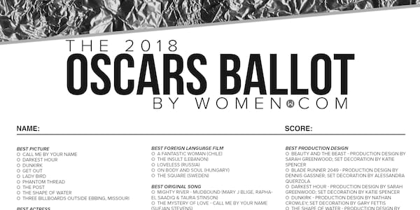 graphic about Oscar Ballots Printable called Oscars 2018 Black And White Printable Ballot Listing -