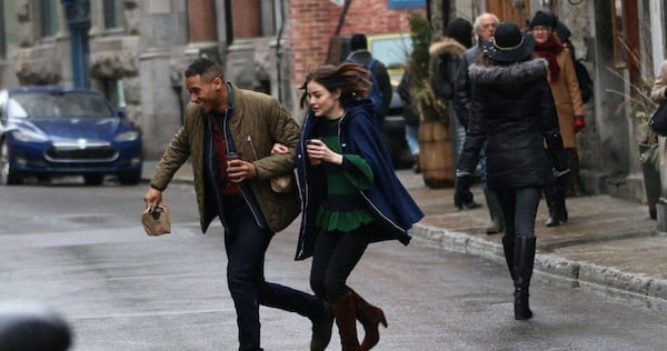 Lucy Hale and Elliot Knight running across the street on the set of Life Sentence., pop culture, movies/tv, wdc-slideshow