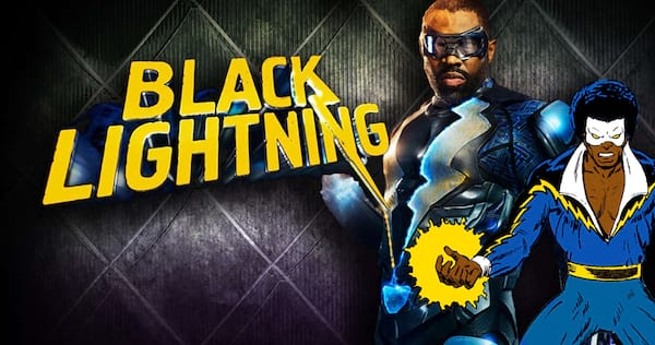 Black Lightning posing with a comic book version of himself imposed in front of him., pop culture, movies/tv, wdc-slideshow