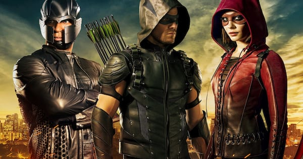 dig, oliver, and Thea from Arrow stand next to each other, all in costume., movies/tv, pop culture, wdc-slideshow