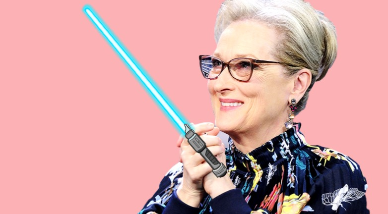 light saber, meryl streep, star wars