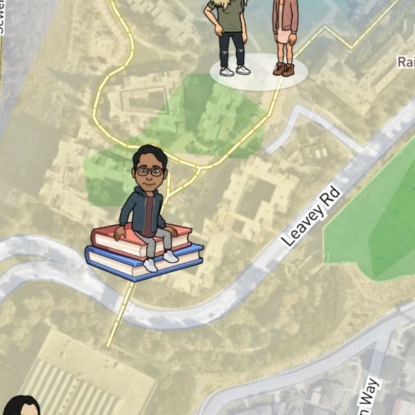what do the emojis on snapchat map mean, Bitmoji, Snapchat map, college campus, books