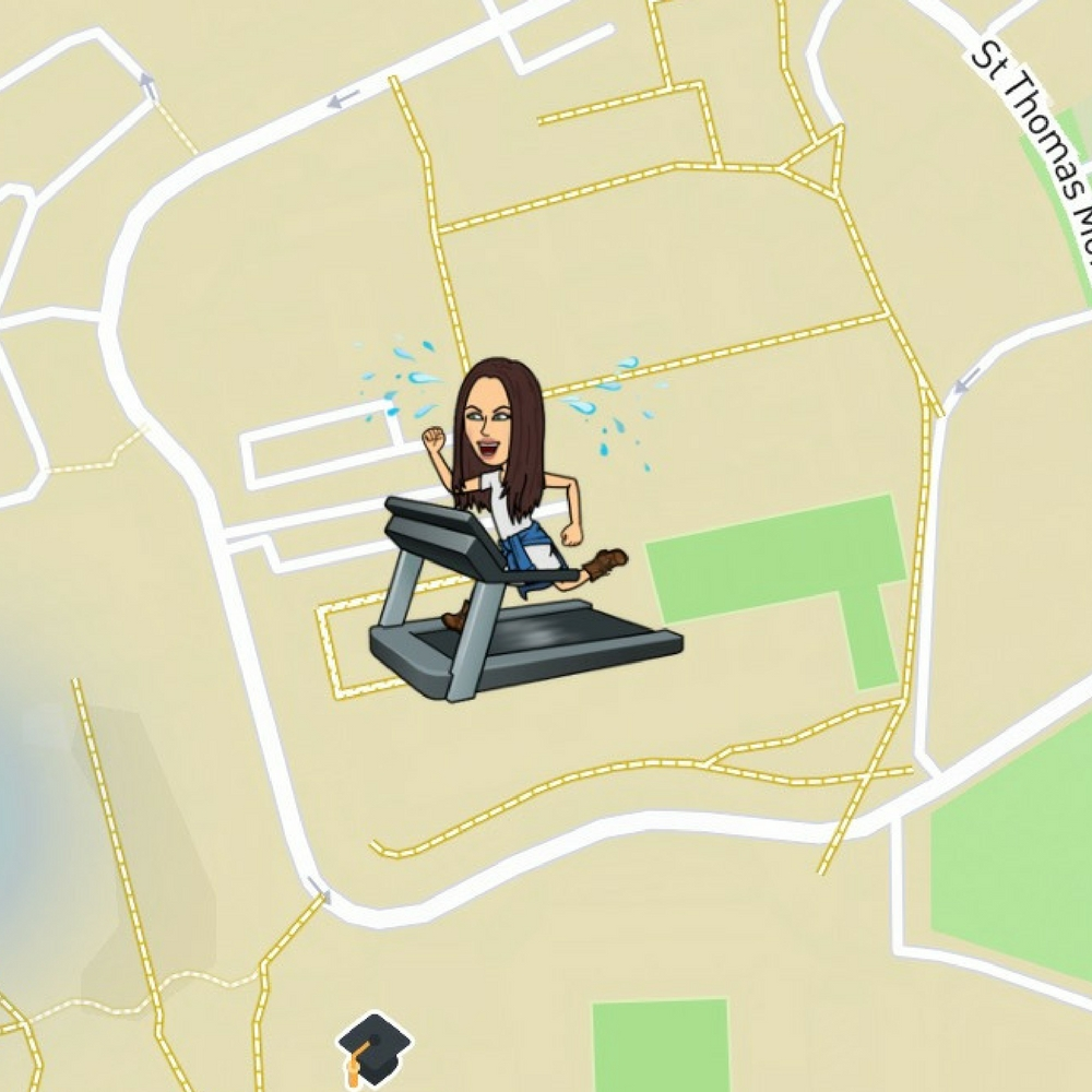 what do the emojis on snapchat map mean, Bitmoji, Snapchat map, treadmill, college campus