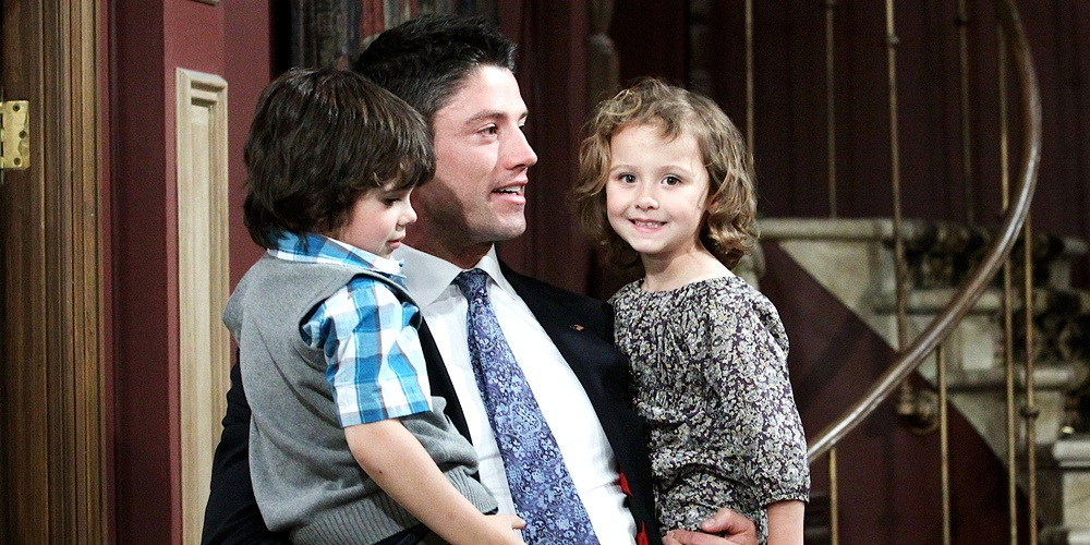 A man holding his children on Days of Our Lives., movies/tv, pop culture, wdc-slideshow
