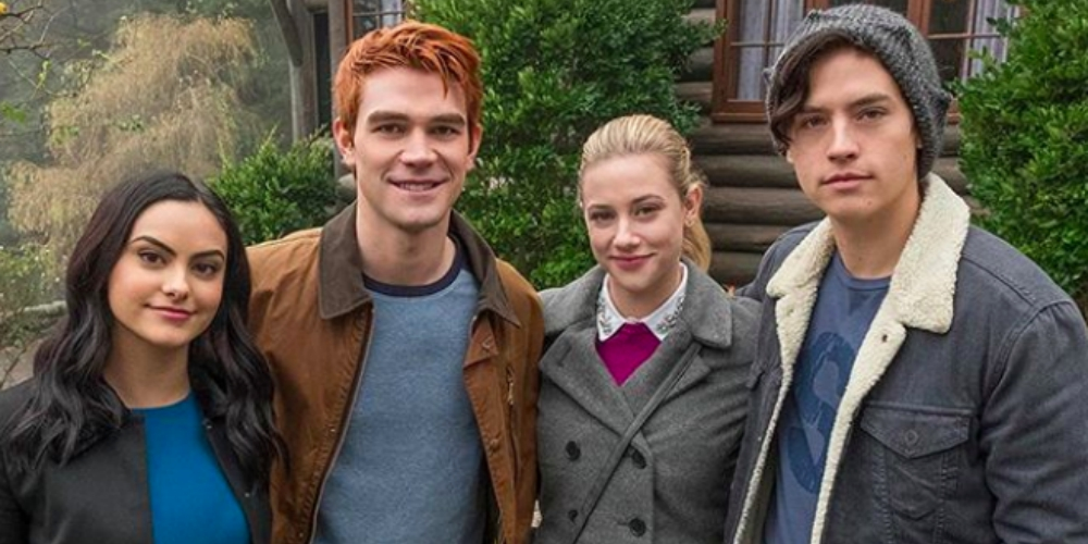 Camila Mendes, KJ Apa, Lili Reinhart, and Cole Sprouse posing for an Instagram picture on The CW's Riverdale account, celebs, movies/tv