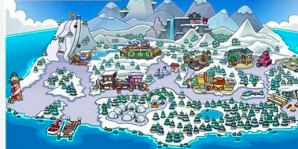 Map from the online game Club Penguin, pop culture