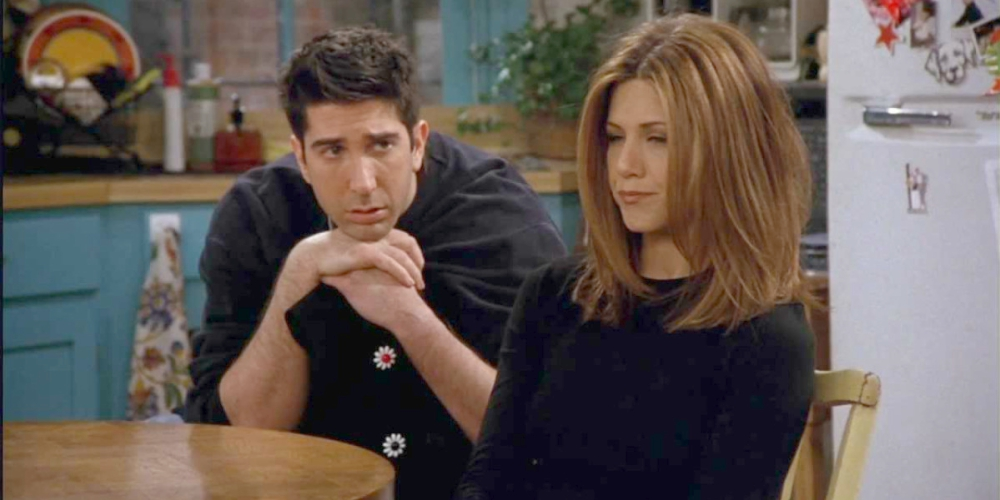 Rachel upset with Ross after she finds out he slept with someone else while they were on a break on an episode of Friends, movies/tv