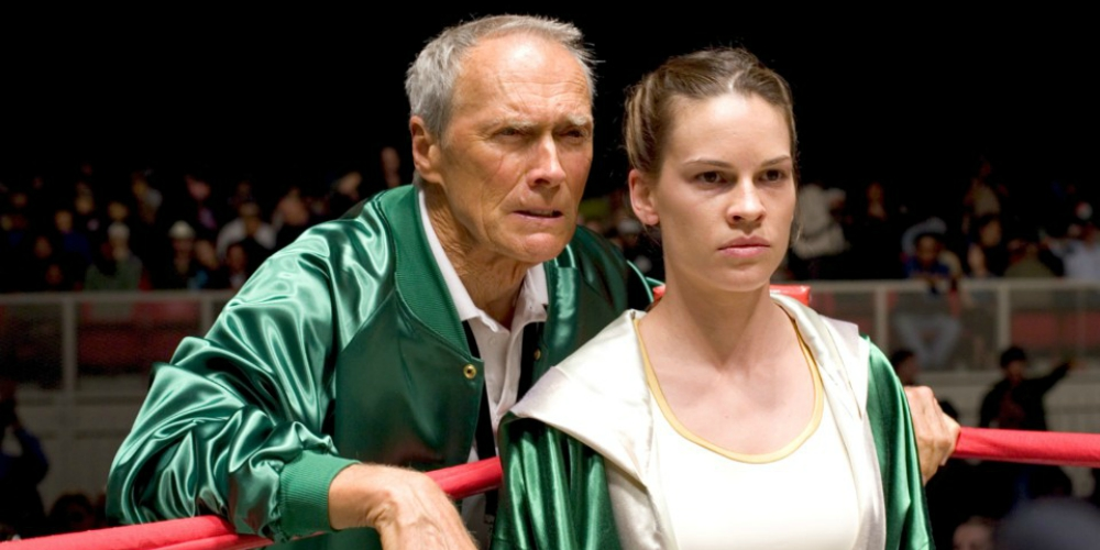 Hilary Swank and Clint Eastwood in the Oscar-winning movie Million Dollar Baby, movies/tv