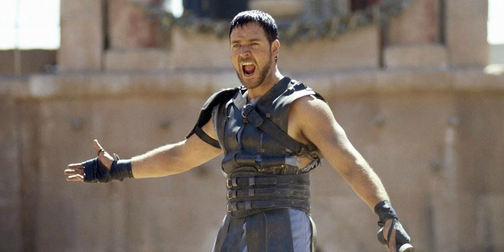 Russell Crowe in the Oscar-winning movie Gladiator, movies/tv