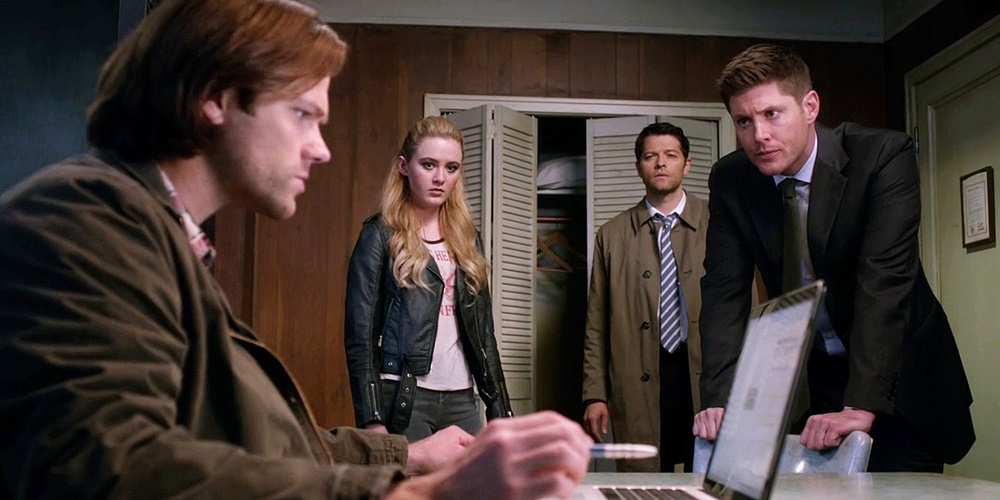 sam, claire, Castiel, and Dean from Supernatural working on a case., movies/tv, pop culture, wdc-slideshow