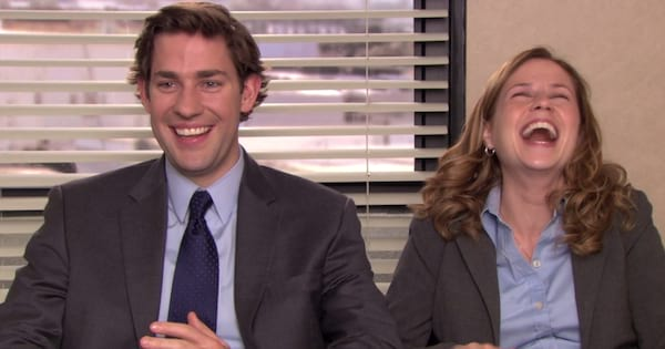 Jim and Pam laughing hysterically on an episode of The Office, movies/tv, the office quotes instagram captions