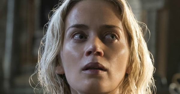 Emily Blunt looking scared at something offscreen in the horror movie A Quiet Place, movies/tv