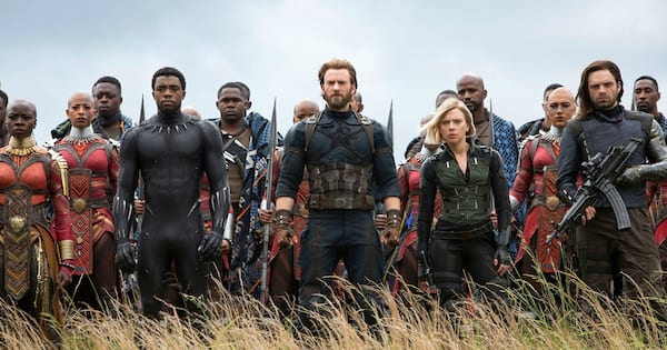 black panther, captain america, black widow, and Bucky in Wakanda in Avengers: Infinity War, movies/tv
