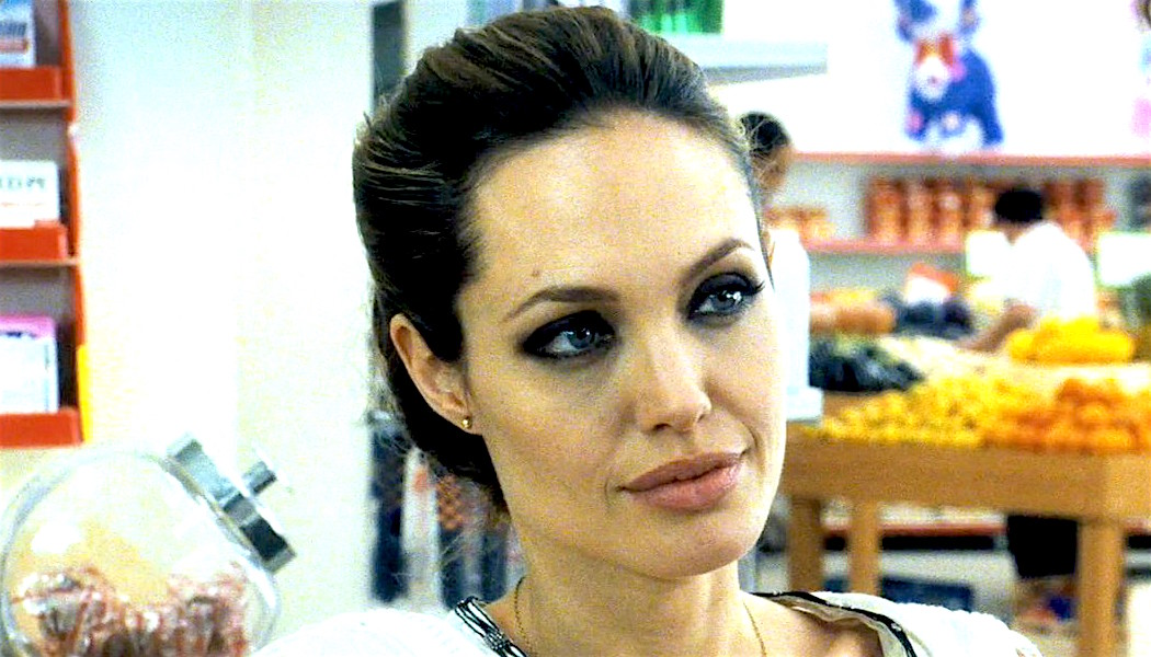 Angelina Jolie-Wanted-Looking to the side with a straight face-Hero, celebs