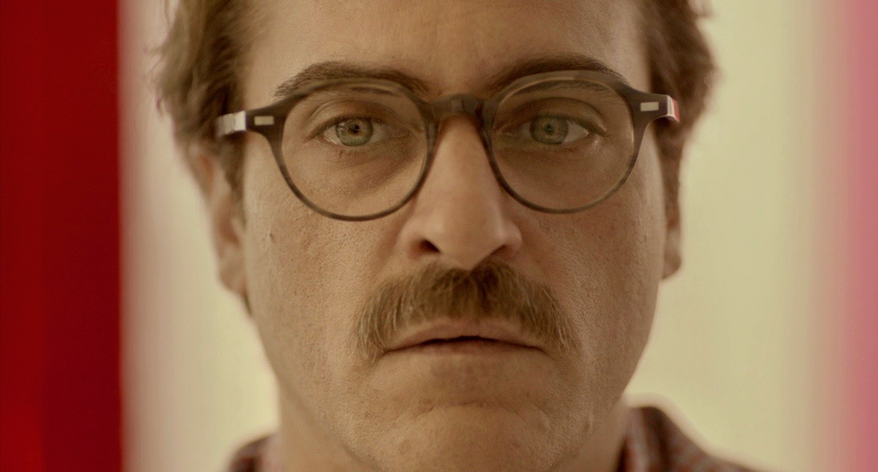 her, Joaquin Phoenix, thinking, think, student, teacher, glasses, confused, mustache, love, SoSo