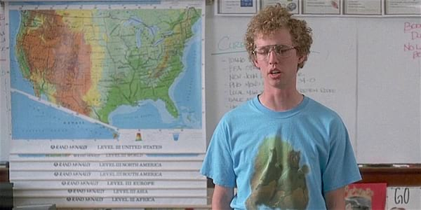 Napoleon Dynamite-standing in front of a map-Idaho, celebs, movies/tv
