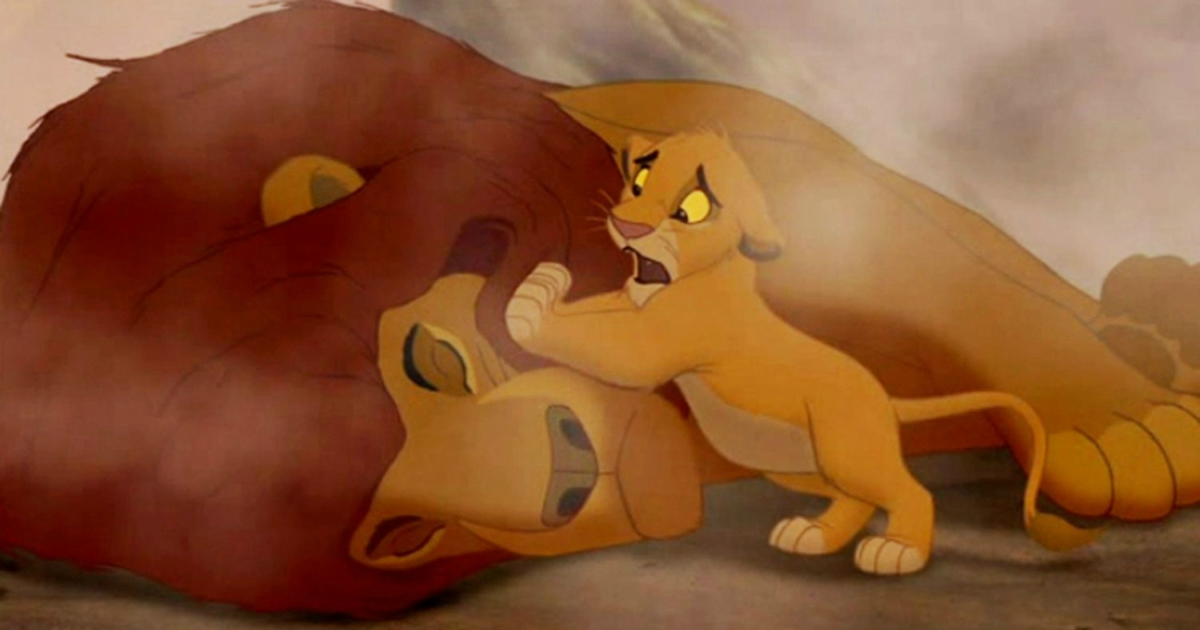 Simba comforting Mufasa's lifeless body after he was trampled to death by wildebeest