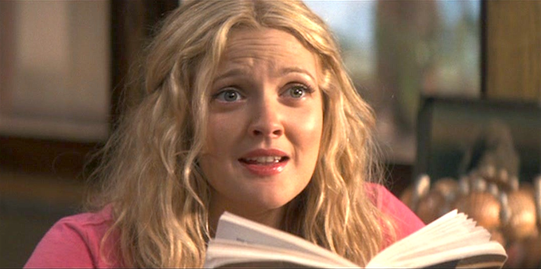 celebs, movies/tv, drew barrymore, 50 first dates, looking up from a book, california, hero