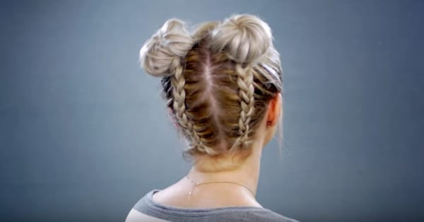 Hair tutorial for double braided space buns