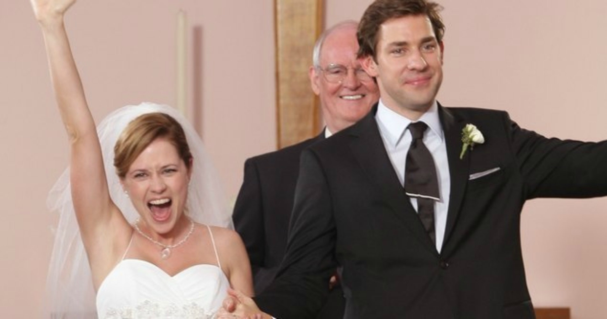 Jim and Pam after getting married in the church on The Office
