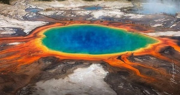 Aerial shot of Grand Prismatic Spring in Yellowstone National Park