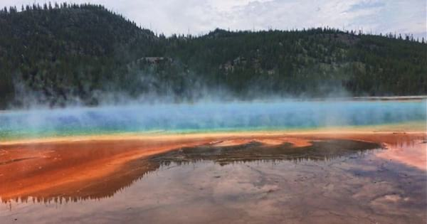 Sideview of Grand Prismatic Spring in Yellowstone National Park