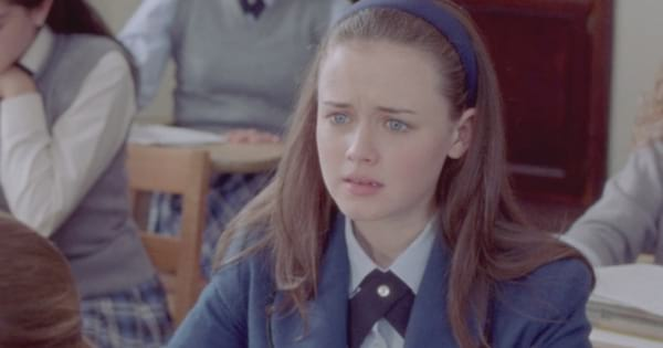 Rory looking upset in class on an episode of Gilmore Girls