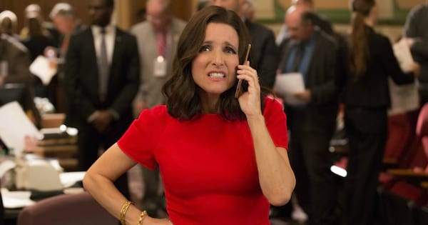 Julia Louis-Dreyfus as Selina Meyer on the phone in an episode of Veep