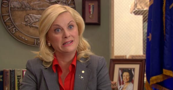 Leslie Knope making a funny face in the first episode of Parks and Recreation