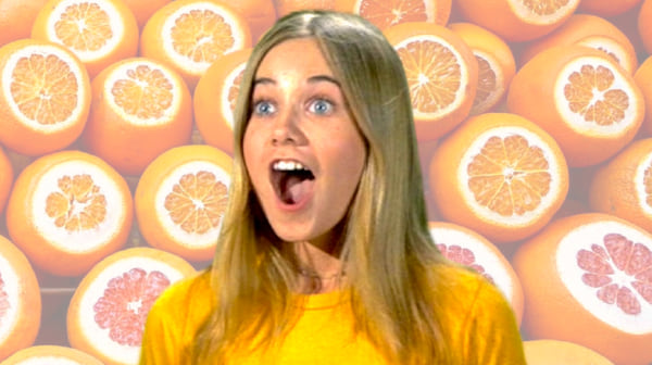 girl from brady bunch in front of a background of oranges, florida, oranges, brady bunch, summer