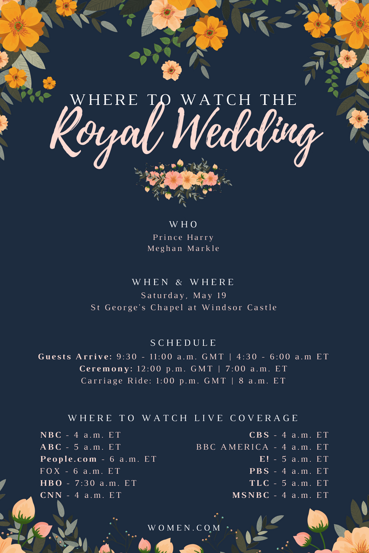 Where to watch the royal wedding 2018, Watch Online, live stream, prince harry, meghan markle, infographic, wedding invitation, How To Watch, channel, start time, location, eastern time, pacific time, United States
