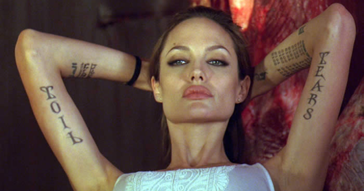 Angelina Jolie's character in wanted showing off her tattoos