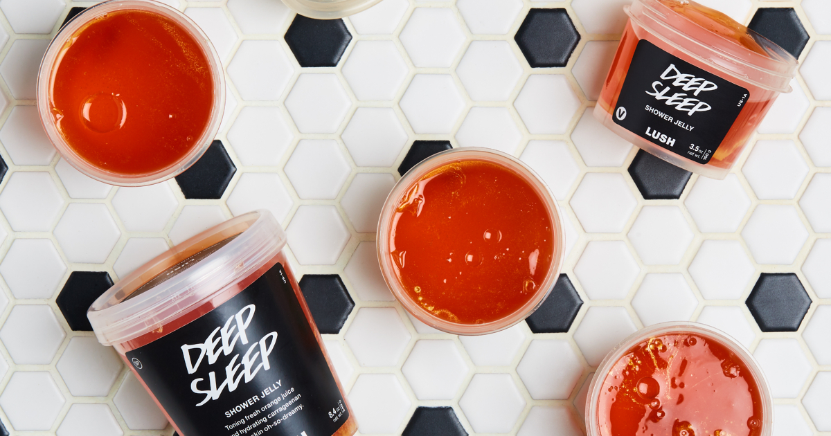 Containers of Lush's new Deep Sleep shower jelly