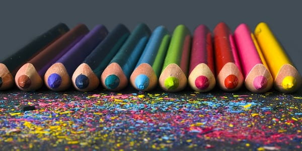 Colored pencils arranged in a rainbow., science & tech, school, wdc-slideshow