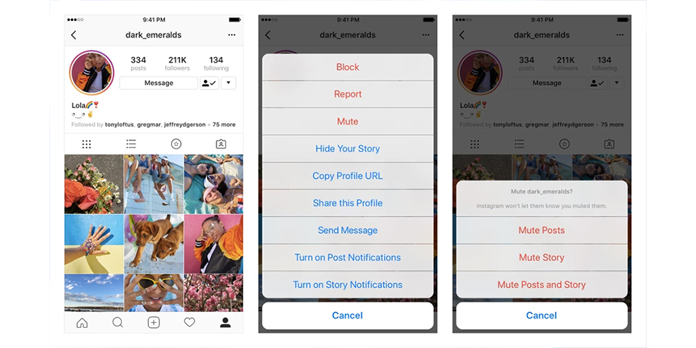 How to Mute People on Instagram, button, may 2018 update