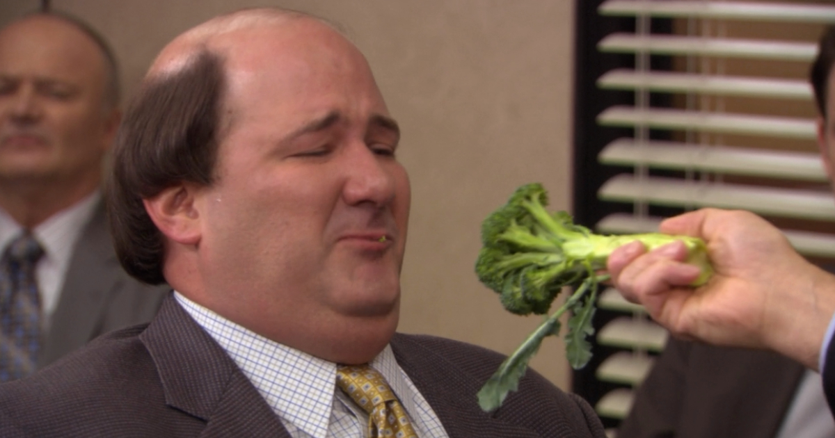 Michael forcing Kevin to eat broccoli on The Office
