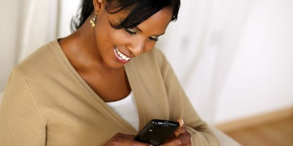 Woman using cell phone., science & tech, relationships
