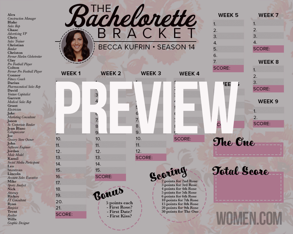 bachelorette bracket 2018, becca kufrin, printable, fantasy league, black and white, free, download