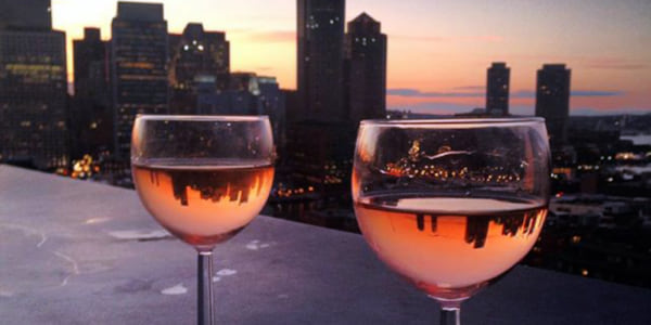 Two glasses of rose., science & tech, food & drinks