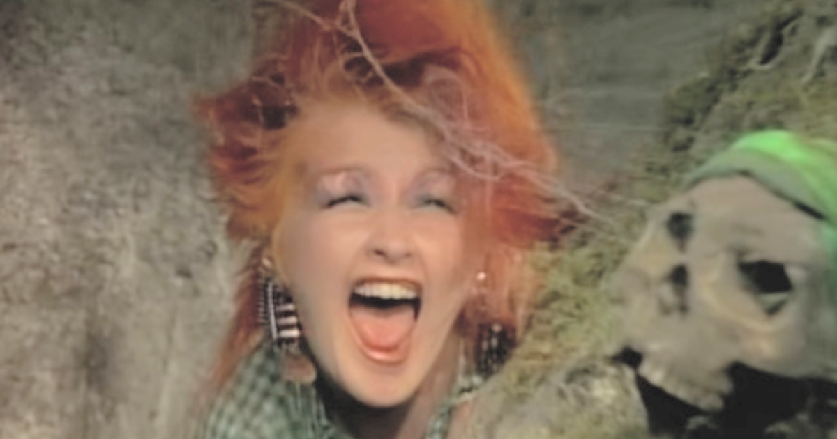 Cyndi Lauper screaming while finding a skull in her music video for \The Goonies 'R' Good Enough\