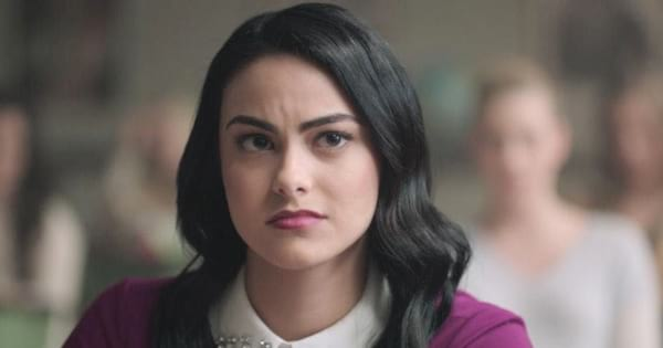 Veronica Lodge looking upset sitting in class on an episode of The CW's Riverdale